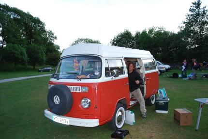 Martin Dorey with Gordy at Gordale Campsite, Malham, Yorkshire Dales