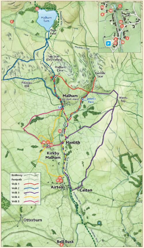 Malhamdale Malham Walks Walking Map Yorkshire Dales